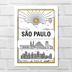 Placa Decorativa - São Paulo em Traços