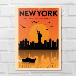 Placa Decorativa - Nova York Minimalista