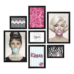Kit de Quadros Decorativos 7 peças Marilyn e Audrey