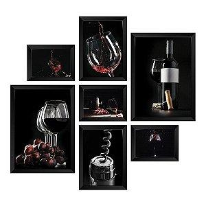 Kit de Quadros Decorativos 7 peças Vinhos
