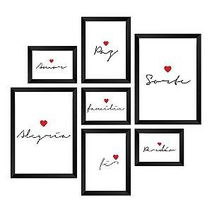 Kit de Quadros Decorativos 7 peças Frases Inspiração