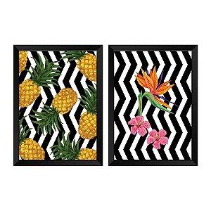 Kit de Quadros Decorativos 2 peças Retro Tropical