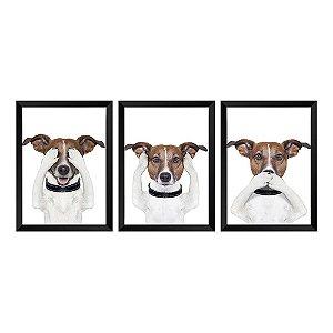 Kit de Quadros Decorativos 3 peças cachorrinho 3 Sentidos