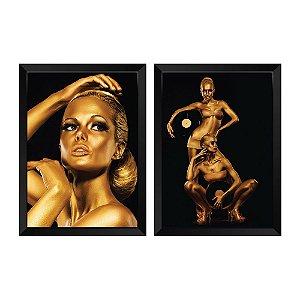 Kit de Quadros Decorativos 2 peças Retrato Gold