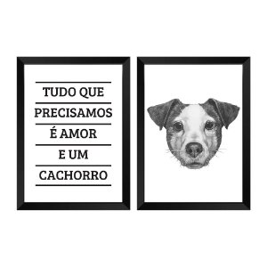 Kit de Quadros Decorativos 2 peças dog love