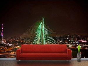 Painel Parede Fotográfico Ponte Estaiada a Noite em São Paulo