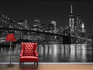 Painel Parede Fotográfico Ponte de Brooklyn e Manhattan PB