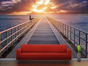 Painel Parede Fotográfico Píer e Pôr do Sol