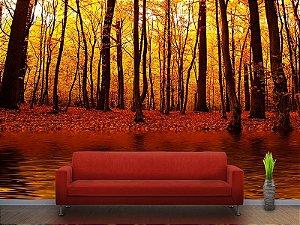 Painel Parede Fotográfico Lago na floresta do Outono