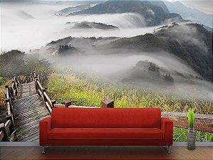 Painel Parede Fotográfico Nuvens, montanha e árvore