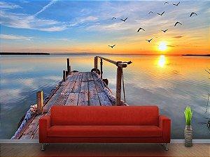 Painel Parede Fotográfico Pôr do sol na Ponte