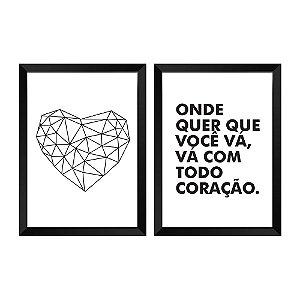 DUPLICADO - Kit de Quadros Decorativos 2 peças amor P&B
