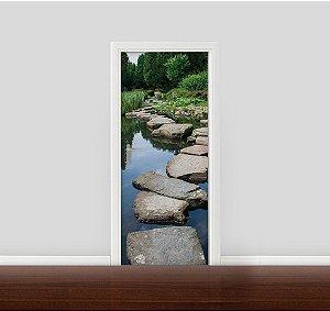 Adesivo para Porta - Caminho de pedras no lago