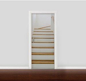 Adesivo para Porta - Escada com madeira