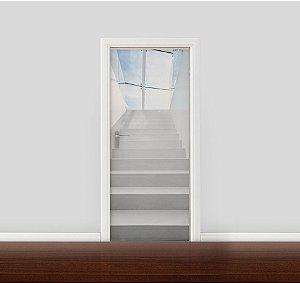 Adesivo para Porta - Escada branca