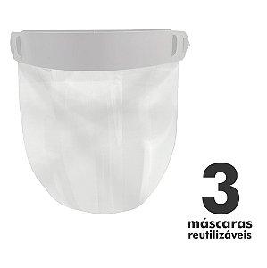 Máscara Facial Protetora - 3 unidades - Reutilizável