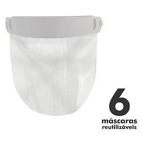 Máscara Facial Protetora - 6 unidades - Reutilizável