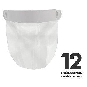 Máscara Facial Protetora - 12 unidades - Reutilizável