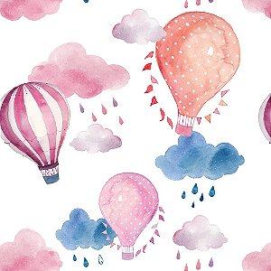Papel de Parede Adesivo Infantil Balão Aquarela