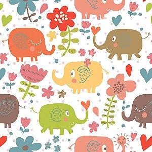Papel de Parede Adesivo Infantil Elefantinhos