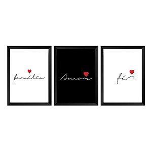 Kit 3 Quadros Família, Amor e Fé
