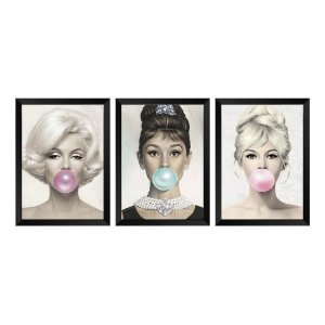 Kit de 3 Quadros Decorativos Marilyn Monroe, Audrey Hepburn e Brigitte Bardot Chiclete Bubble