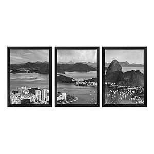 Kit de 3 Quadros Skyline de Rio de Janeiro