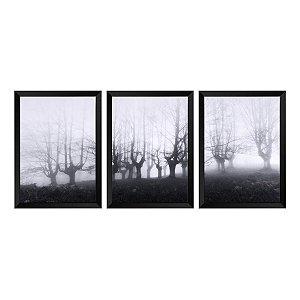Kit de 3 Quadros Floresta em Nevoeiro