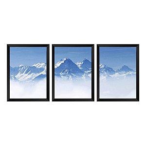 Kit de 3 Quadros Montanha de Neve