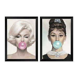 Kit de 2 Quadros Decorativos Marilyn Monroe e Audrey Hepburn