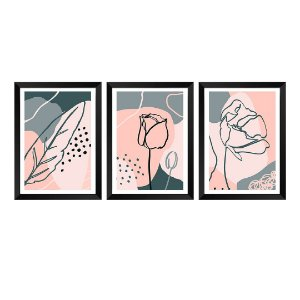 Kit de 3 Quadros Flores Poppy