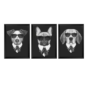 Kit de 3 Quadros Dogs de Preto