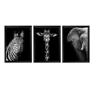 Kit de 3 Quadros Elefante, Girafa e Zebra