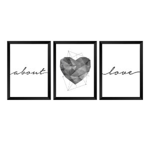 Kit de 3 Quadros About Love