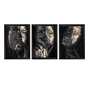 Kit de 3 Quadros Mulher Negra e Dourada