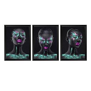 Kit de 3 Quadros Mulher Negra Verde Rubi
