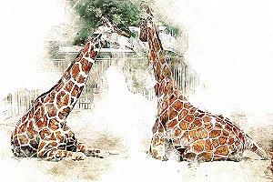 Painel Parede Fotográfico Girafas Aquarela