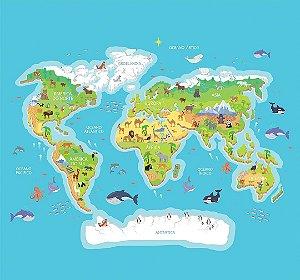 Painel Parede Fotográfico Mapa Animais do Mundo 2