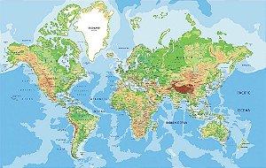 Painel Parede Fotográfico Mapa Mundi Geopolítico