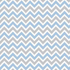 Papel de Parede Adesivo Chevron Cinza e Azul