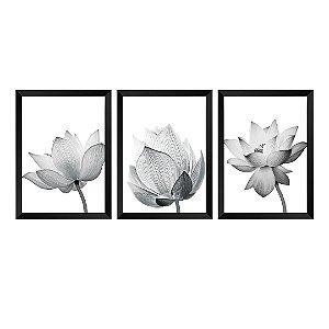 Kit de 3 Quadros Flores Vitale
