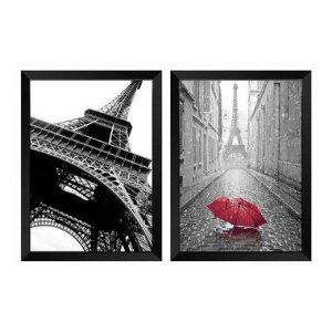 Kit de 2 Quadros Decorativos Paris P&B