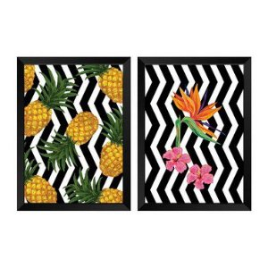 Kit de 2 Quadros Decorativos Retro Tropical
