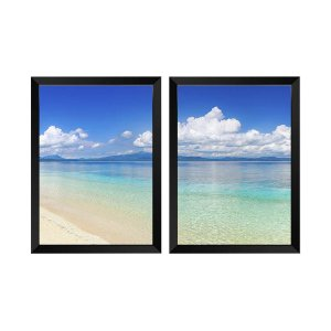 Kit de 2 Quadros Decorativos Praia Panorâmica Filipinas