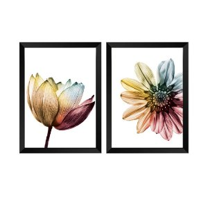 Kit de 2 Quadros Decorativos Flores Elegance