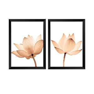 Kit de 2 Quadros Decorativos Flores Rose Gold