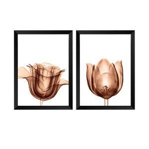 Kit de 2 Quadros Decorativos Flores RaioX Rose Gold
