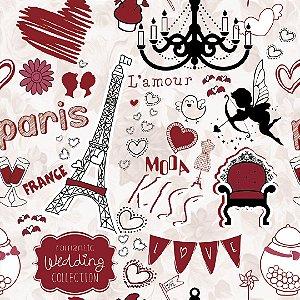 Papel de Parede Adesivo Casual Love Paris