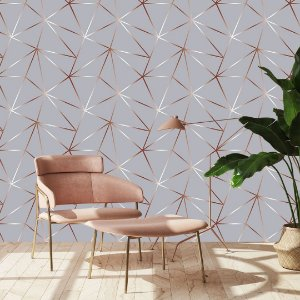 Papel de Parede Unique Grey - Cinza com Rose Gold