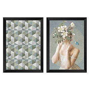 Kit de 2 Quadros Decorativos Mulher Flores